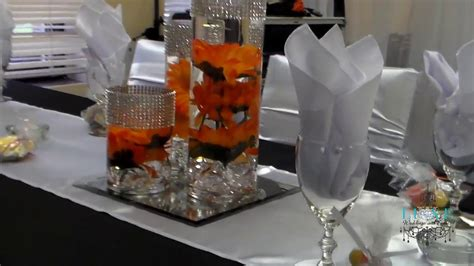 beautiful fall orange black and white wedding decor by luxe weddings and events
