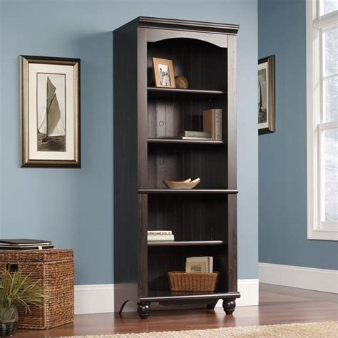 Sauder Harbor Bookcase Sauder Harbor View Library 5 Drawer Antiqued Paint Finish Bookcase Ebay