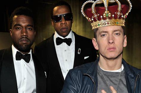 eminem kanye west the king of hip hop eminem knocks out kanye and jay z