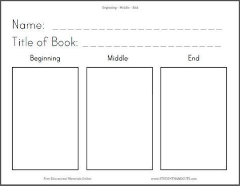 beginning middle end writing paper beginning middle end ela worksheet student handouts