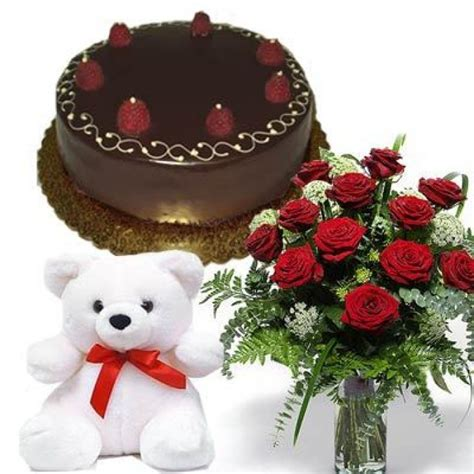 Rumauma Exclusive Teddy Hers For Anniversary Gift flowers with cake n teddy