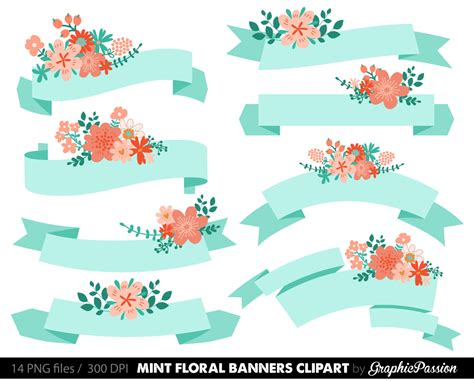Wedding Banner Clipart by Digital Floral Banners Clipart Mint Digital Wedding Floral