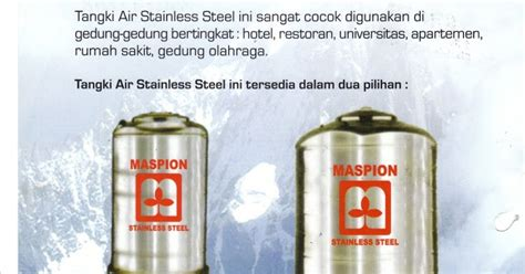 Wajan Stainless Steel Maspion kota baru bangunan tandon air maspion