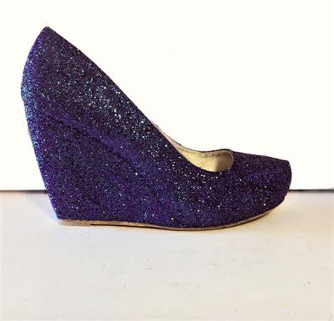 Prewalker Heels Sparkling Blue womens sparkly navy blue glitter wedge heels wedding