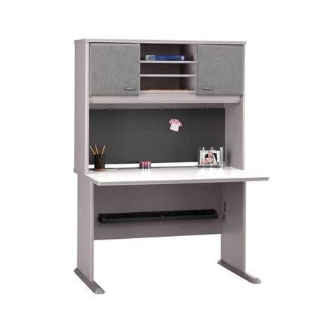 bush series a office furniture bush bbf series a 48 quot computer desk with hutch in pewter wc14548 pkg1