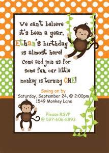 diy monkey birthday printable invitation by cupcakeexpress