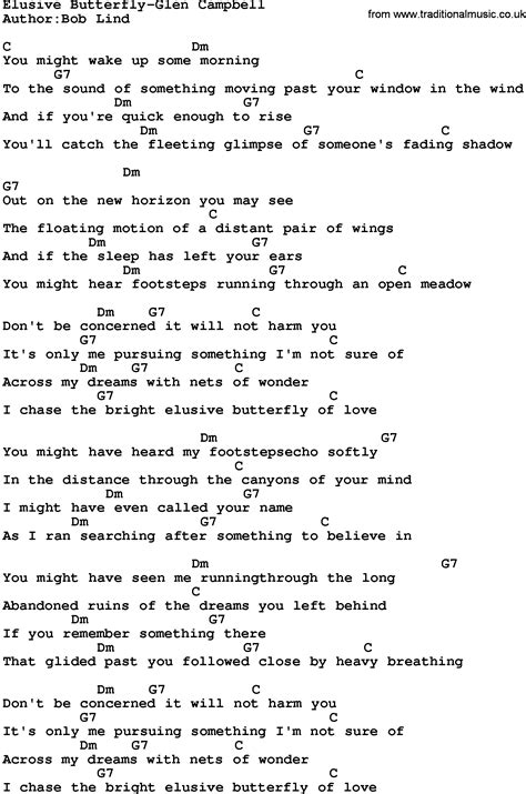and butterfly lyrics country elusive butterfly glen cbell lyrics and chords