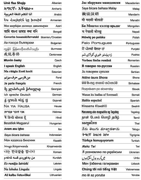language chart language id chart