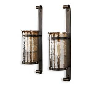 Rustic Candle Wall Sconces Mathis Rustic Wall Hurricane Sconce Pair