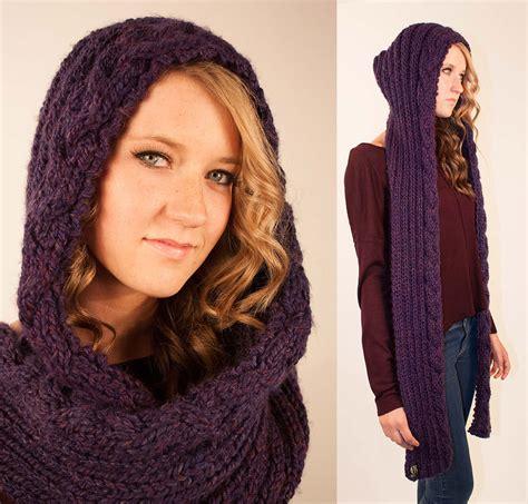 knitting pattern for a scarf with hood knitting pattern rapunzel braid hooded scarf by rubyandjuniper