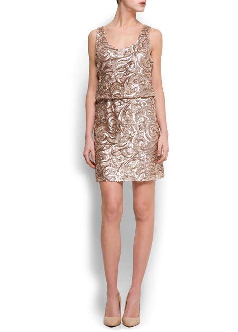 Manggo Dress lyst mango sequined dress in metallic