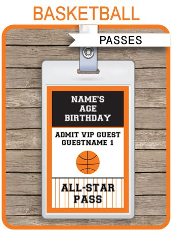 Basketball Party All Star Vip Passes Template Party Favors Vip Pass Template