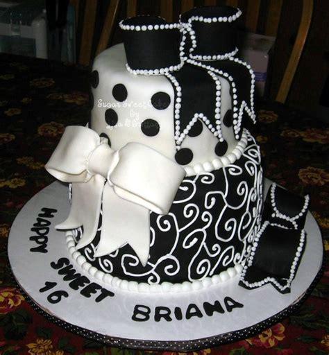 black sweet sweet 16 black white scrolls bows cakecentral com