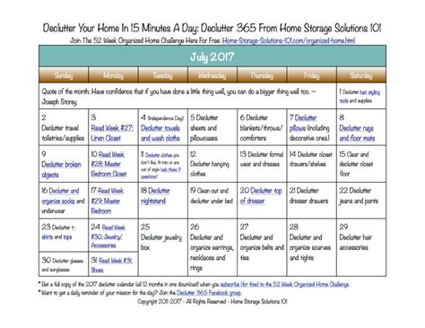 july declutter calendar 15 minute daily missions for month