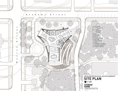 site plan studio 0202 arcus center for social justice leadership studio gang