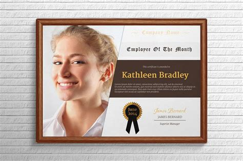 employee of the month certificate template with picture employee of the month certificate stationery templates