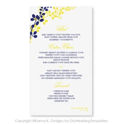 Menu Card Template Microsoft by Wedding Menu Card Template Instantly Editable