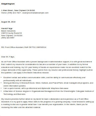 cover letter for front office assistant sle cover letter for office assistant 9 exles in