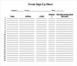 Event Sign Up Sheet Template sle sign up sheet 8 exle format