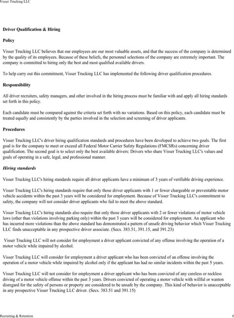 Download Visser Trucking Company Safety Policy Template For Free Page 10 Formtemplate Trucking Policy And Procedures Template