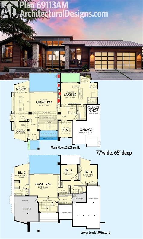modern home design 4000 square feet house plan over square feet wonderful 69113am ultra