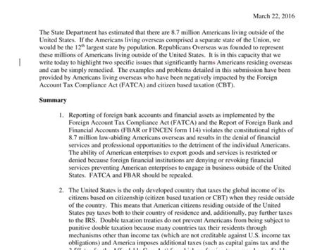 house ways and means committee ro submits proposal to repeal fatca and cbt to house ways and means committee