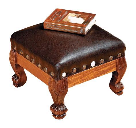 ottoman stool brown faux leather wood footstool foot stool rest hassock