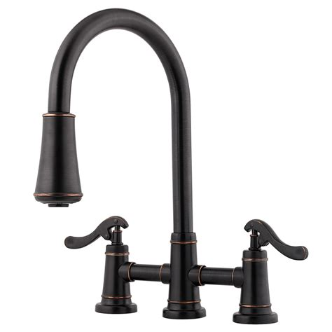 bronze pull kitchen faucet shop pfister ashfield tuscan bronze 2 handle pull kitchen faucet at lowes