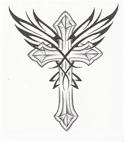 cross with wings tattoos designs free coloring pages of roses and crosses