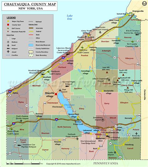 county map of usa chautauqua county map map of chautauqua county new york