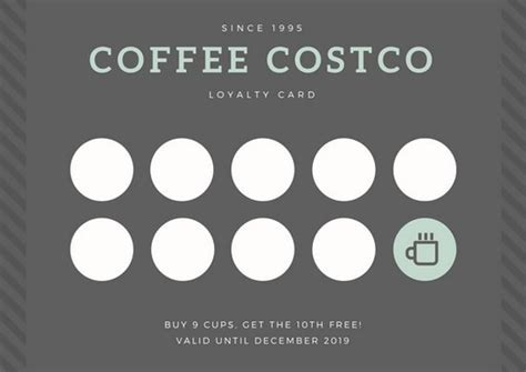 free coffee loyalty card template gray coffee loyalty card templates by canva