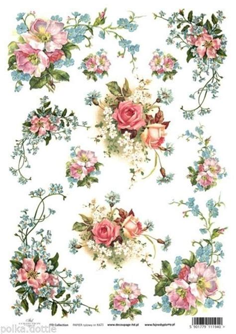 Decoupage With Rice Paper - rice paper decoupage decopatch sheet vintage flowers