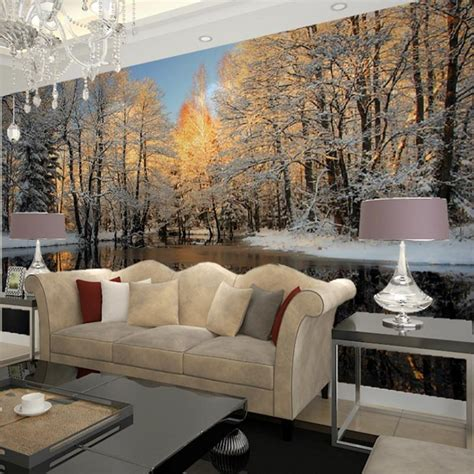 Home Decor Wall Murals Winter Nature Landscape Home Decor Living Room Wall Mural Papel De Parede Birch Trees Forest
