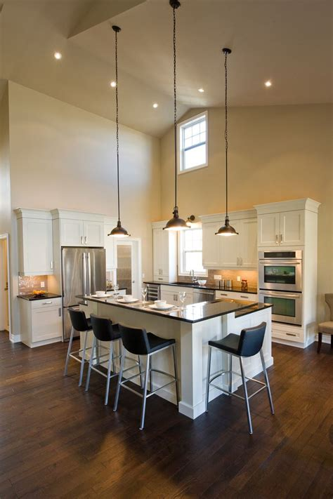 Hanging Lights For High Ceilings Mill Kitchen L Shaped Breakfast Bar High Ceilings Pendant Lighting Open Concept