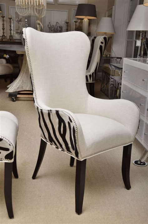 Cowhide Dining Room Chairs Set Of Eight Zebra Stenciled Cowhide Dining Chairs For Sale At 1stdibs