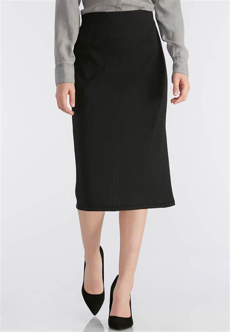 ribbed midi skirt plus below the knee cato fashions