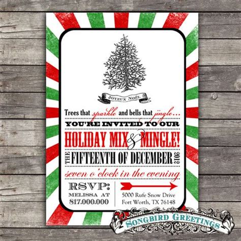 diy christmas tree party invitation customizable