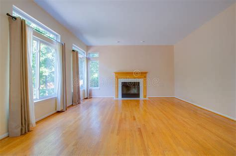 Empty Room with Fireplace stock photo. Image of bright