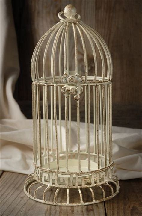 11 quot cream white metal bird cage candle holder