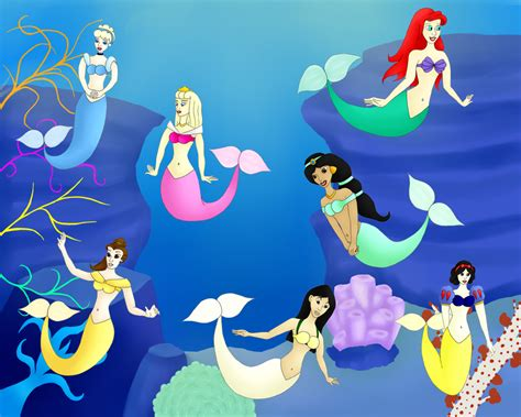 Disney Princesses As Mermaids By Foaliln On Deviantart Pictures Of Disney Princesses As Mermaids