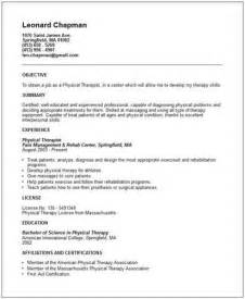 physical therapist resume sle physical therapist assistants resume sales therapist