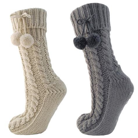 slipper socks chunky cable knit slipper socks with fleece lining