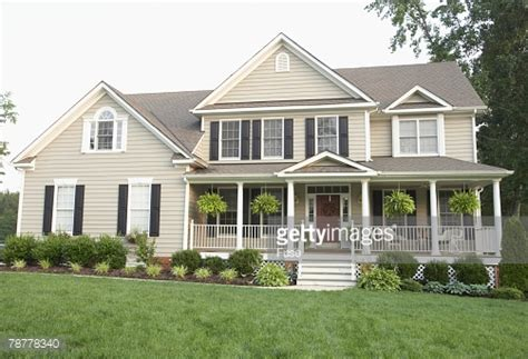 houses with big porches traditional style house with large front porch stock photo