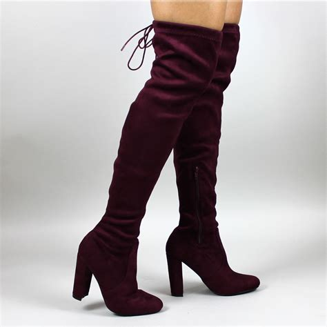 thigh high burgundy suede lace boots block heel thigh