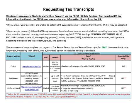 requesting an irs transcript financial aid sacramento