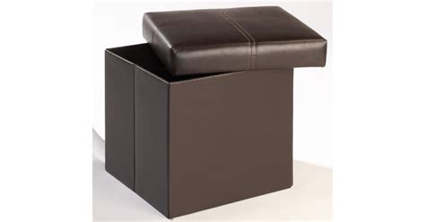 small faux leather ottoman madrid small storage ottoman footstool brown faux leather