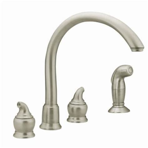 home depot moen kitchen faucets moen monticello 2 handle kitchen faucet in stainless steel 7786sl the home depot