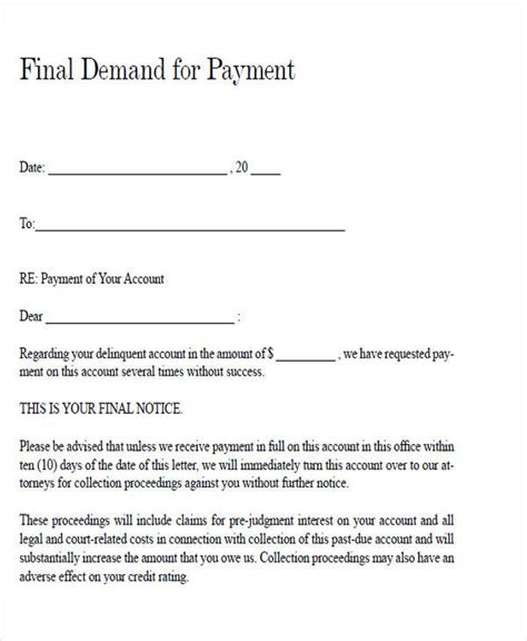 demand payment letter template free demand letters