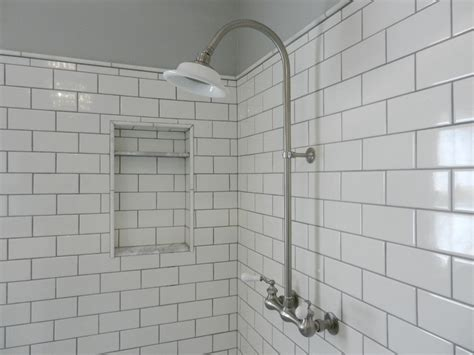 subway tile shower white subway tile shower with exposed shower set in master