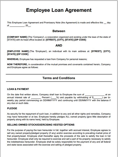 loan template agreement employee loan agreement template 28 images best photos